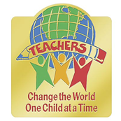 Teachers Change the World One Child at a Time lapel pin